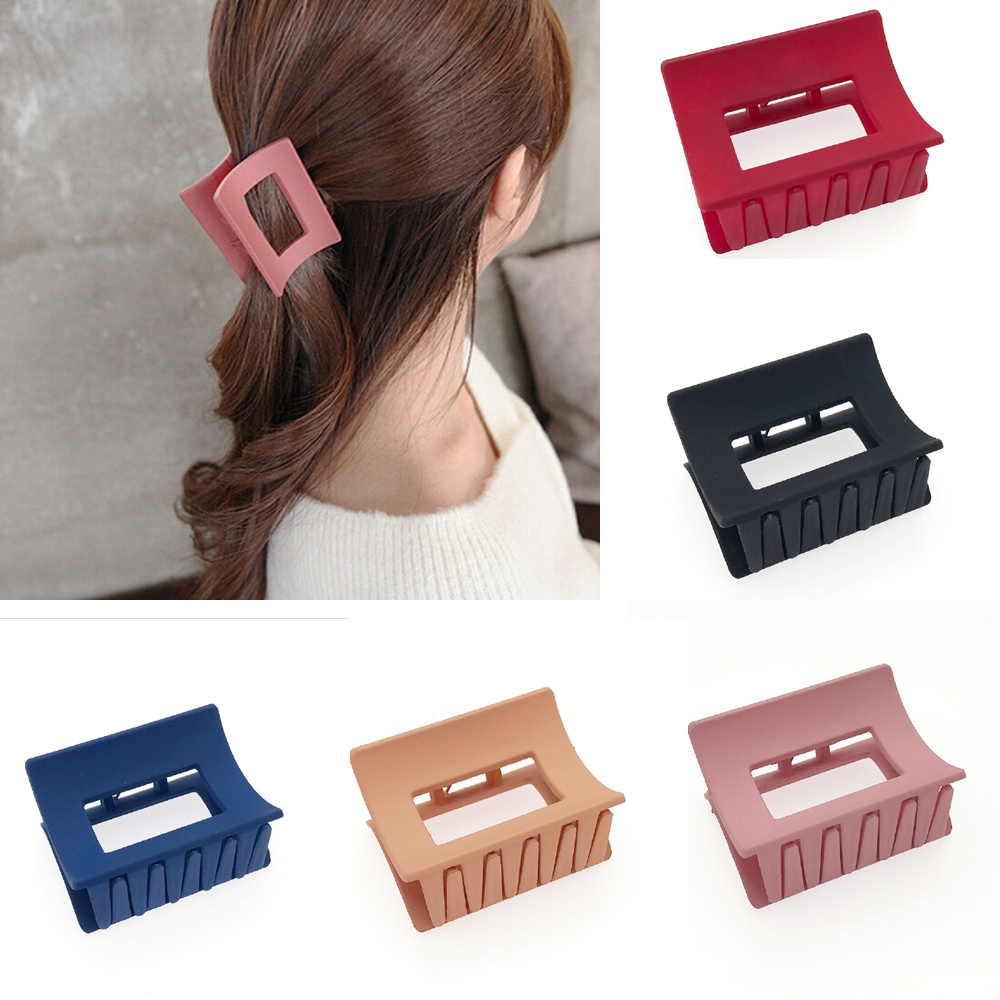 2019 New Solid Color Hollow Out Rectangle Acrylic Hair Clip For Women Girls Geometric Large Size Hair Crab Hair Claws Headwear