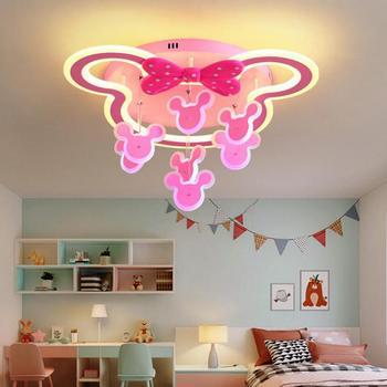 Led الأطفال ضوء مصباح غرفة النوم الإبداعية ضوء السقف الكرتون الحيوان الدب فتاة رياض الأطفال الأميرة غرفة Led مصابيح 220 فولت