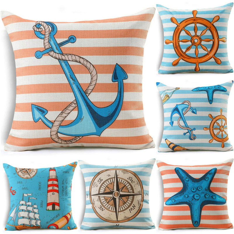 18 Ocean Style Cushion Cover Starfish Compass Anchors Lighthouse Pattern Cotton Linen Throw Pillowcase Pillow Cover Home Decor