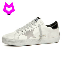 Brand Designer 2017 Italy Golden Genuine Leather Casual Men Shoes All Sport Star Breather Shoes