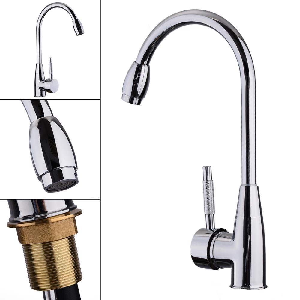 Stainless Steel 360 Degree Swivel Faucet Hot Cold Water Mixer Tap Pull Out Kitchen Tap Silver Bathroom Faucet
