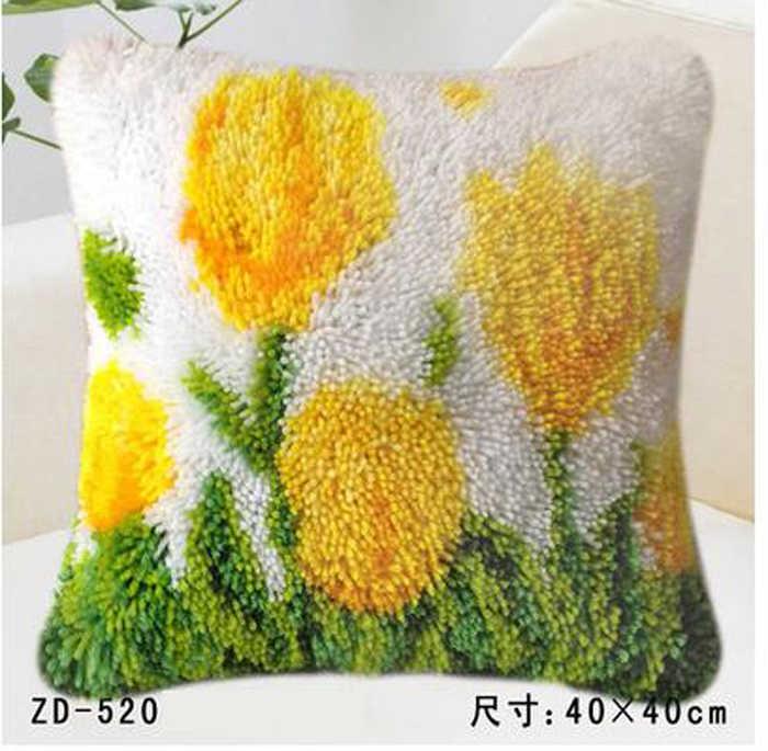 """Metodo kit cucito tulipano giallo fiore Cuscino """"fai da te"""" fermo kit tappeto gancio Unfinshed ricamato modello tappeto"""