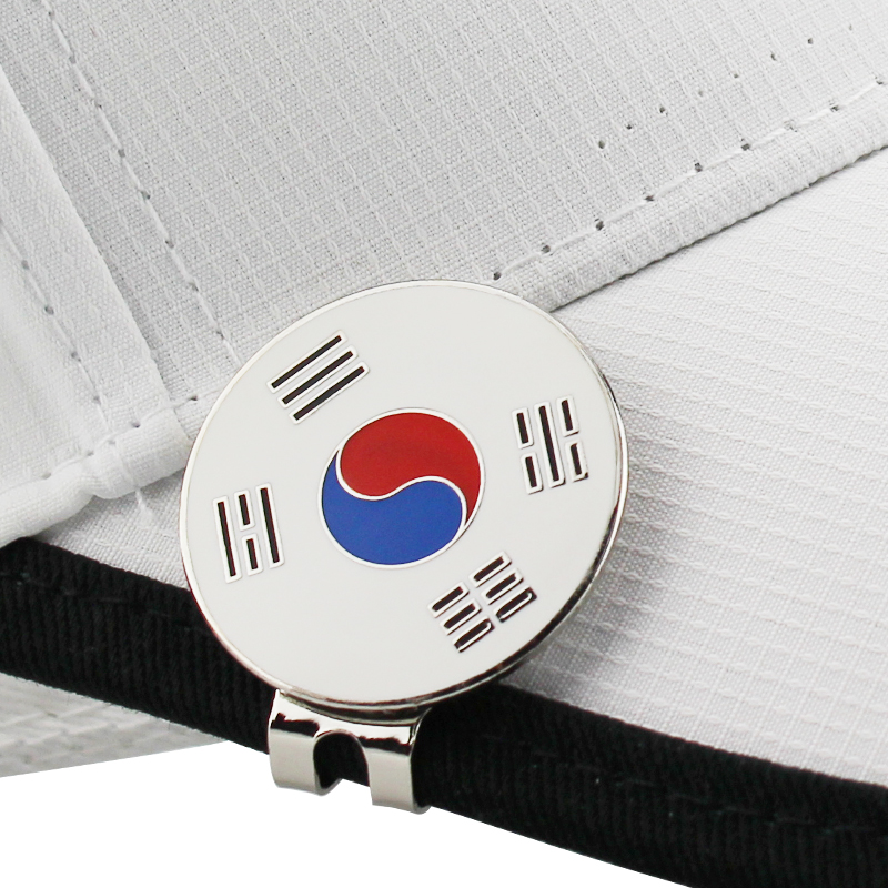 "Korea Flag Golf Marker W Magnetic Golf Cap Clip Golf Ball Mark Alloy Professional 1.18"" Drop Ship"