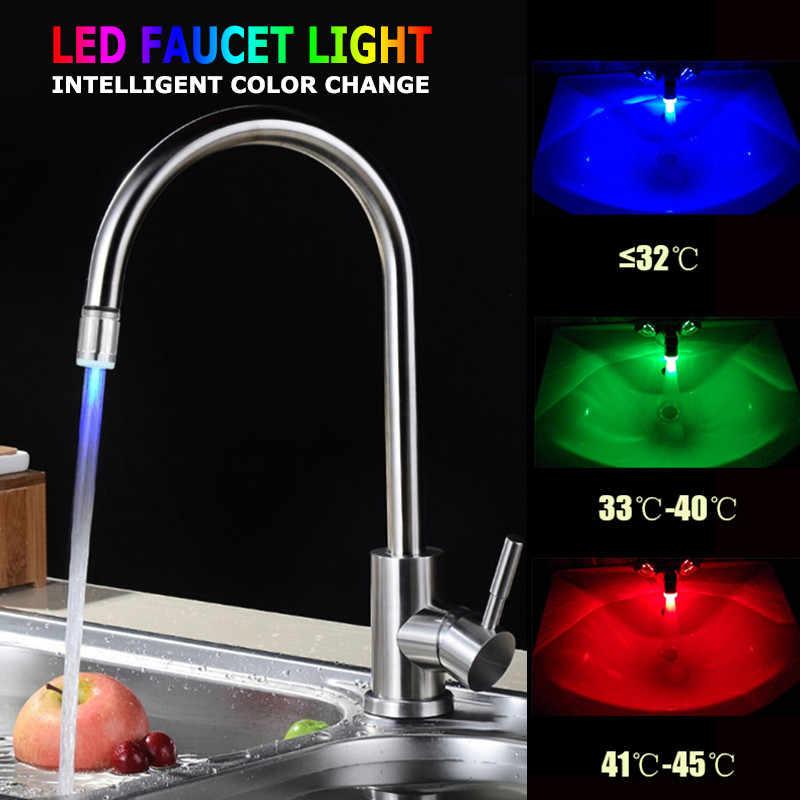 ドロップシッピング 7 色を変更する Led の給水栓ライトセンサーキッチンライト蛇口アクセサリー浴室のシャワー拡散