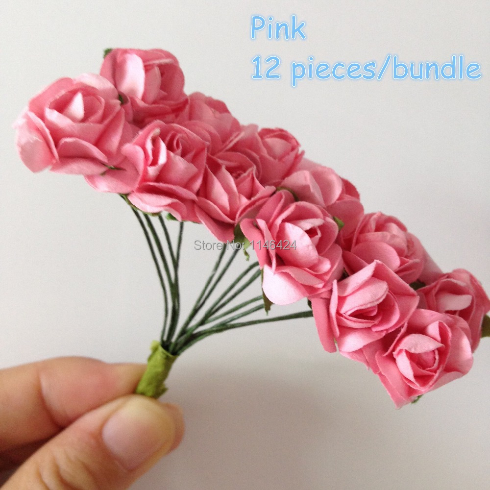 Aliexpress com buy free shipping 144 pieces lot small craft paper flowers pink mulberry artificial rose wedding bouquet from reliable paper flowers