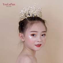 YouLaPan HP193-G little wedding crown childrens headband high quality bridal Gold for women