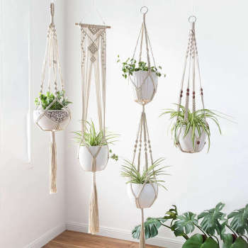 Macrame Plant Hangers - 4 Pack, In Different Designs - Handmade Indoor Wall Hanging Planter Plant Holder - Modern Boh