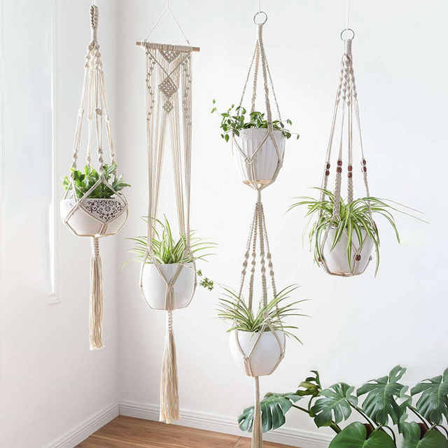 Us 14 03 10 Off Macrame Plant Hangers 4 Pack In Diffe Designs Handmade Indoor Wall Hanging Planter Holder Modern Boh Baskets