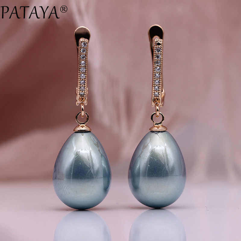 PATAYA New 328 Anniversary 585 Rose Gold Water Drop Shell Pearls Long Earrings White Natural Zircon Women Simple Fashion Jewelry