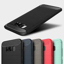 Phone Case For Samsung Galaxy S8 Case Silicone Carbon Fiber Anti-knock Cover For Samsung S8 Plus Protective Cover Shell Bumper цена и фото