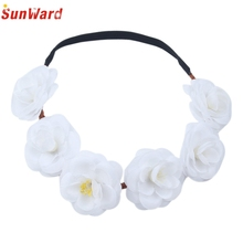 SunWard Good Deal  Bohemian Rose Wedding Flowers Hair Band Bride Wreath Floral Summer Crown Hair Accessories  1pc*30%_U00442
