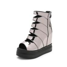 Women's High Heels Sandals 2019 Summer Fashion Leather Hidden Heel Glad