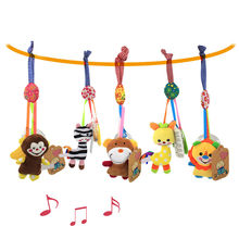 Baby Toy Rattle Kids Rattles Spiral Bed Stroller Animal Modeling With Teether Educational Plush Toy Baby Activity Grasping Toy(China)