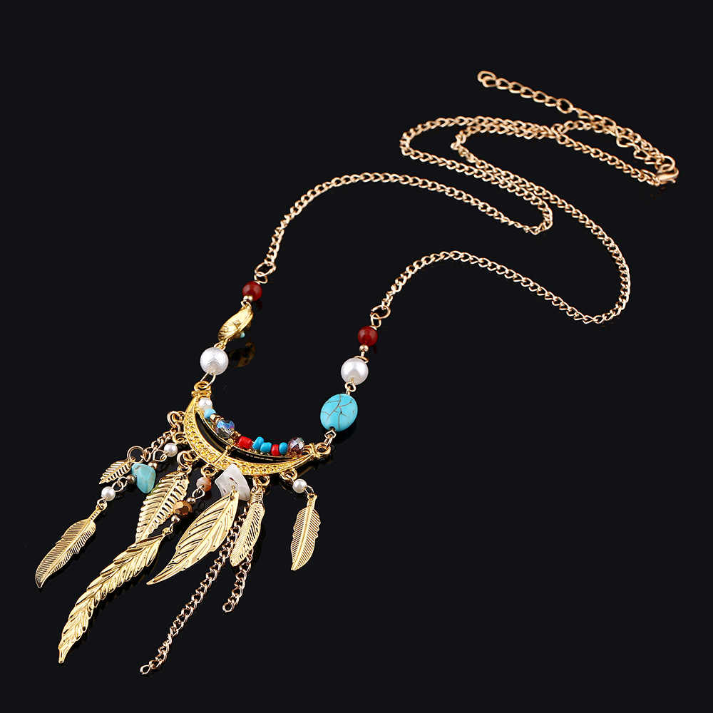 2019 New Fashion Women Bohemian Beads Leaves Tassel Collar Choker Necklace Vintage Gypsy Ethnic Maxi Necklace Jewelry 5N427