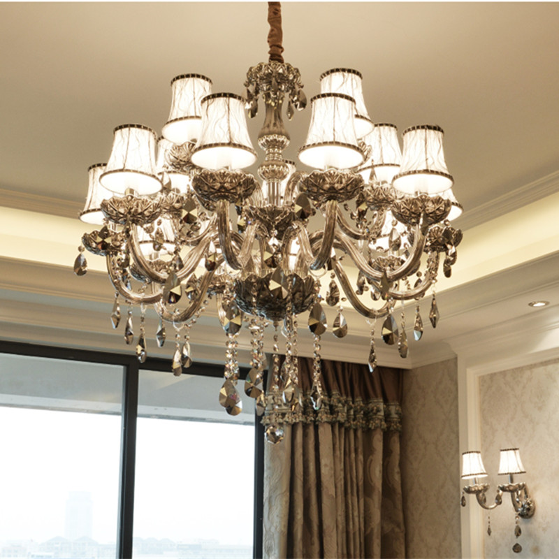 Us 44 94 30 Off Modern Crystal Chandeliers Smokey Grey Ceiling Hanglamps Luxury Pendant Lamps For Living Room Kitchen Fixtures Res Lighting In