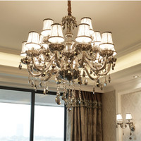 Modern Crystal Chandeliers Smokey Grey Ceiling Hanglamps Luxury Pendant Lamps For Living Room Kitchen Fixtures Lustres Lighting