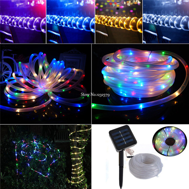 Waterproof 7M 50Leds Solar LED String Lights Outdoor Rope Tube Led