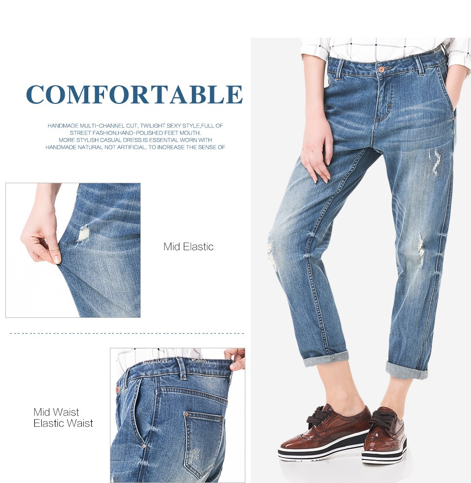 LEIJIJEANS Spring Plus Size Fashion Ripped Hole Bleached Mid Waist Ankle Length Vintage Stretch Loose Harem Women Jeans 8