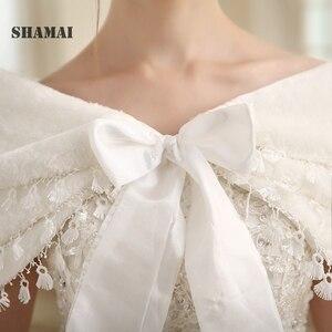 Image 4 - SHAMAI Women Faux Fur Winter Autumn Warm Bridal  Lace Wedding Wrap Stole Bolero Scarf Wedding party Cape