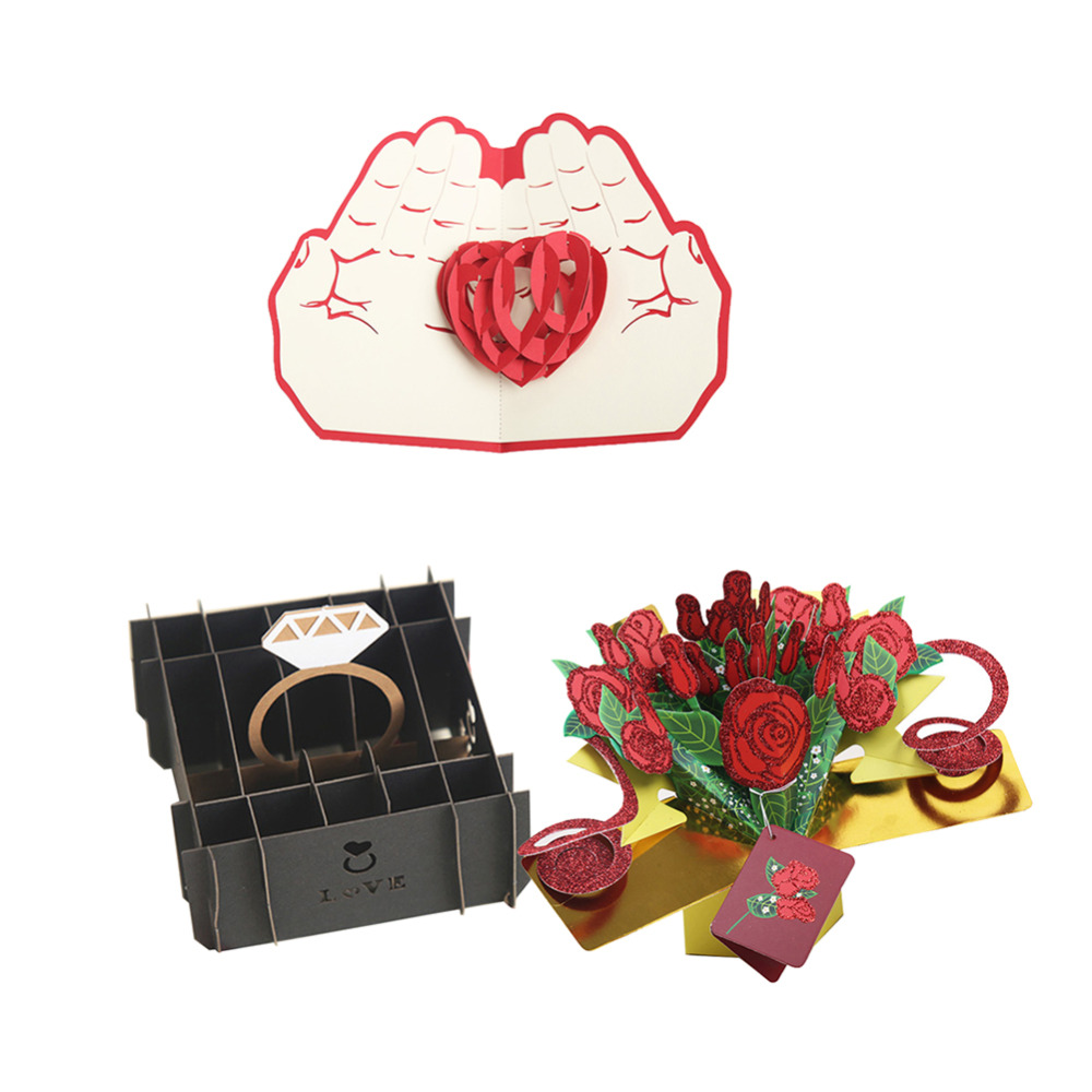 2018 Arrive Valentines Day Postcard Greeting Gift Cards Ring Box Rose Love Paper 3D Handmade Laser Cut Vintage Invitations Card