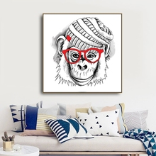 Laeacco Watercolor Monkey Simplicity Decor Canvas Oil Painting Picture Unique Gift Living Room Bedroom Animal Home Art No Frame