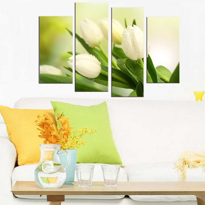 Modern lily Flowers paintings 5 piece large canvas print wall art ...