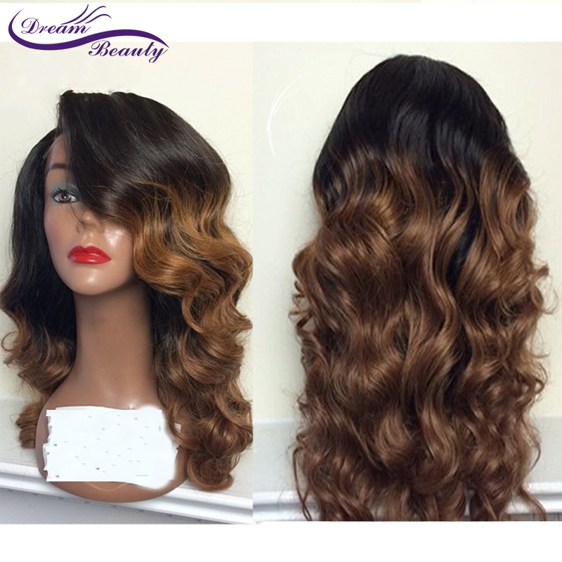 Ombre Wavy Human Hair Wig With Baby Hair Pre Plucked Lace Front Wigs Remy Brazilian Wigs