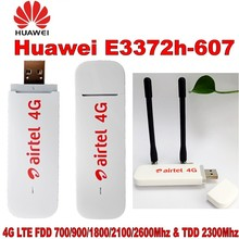 Huawei 4 グラム USB モデム E3372 E3372h 607 4 4G LTE 150 150mbps の Usb ドングル 4 グラム USB スティックデータカードプラス 2 個とアンテナ huawei のため