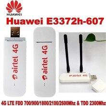 Huawei 4G USB מודם E3372 E3372h 607 4G LTE 150Mbps USB Dongle 4G USB מקל Datacard בתוספת עם 2pcs אנטנה עבור huawei