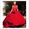 Bola roja vestido de la celebridad con bordado cuello alto Rita Ora en la MTV EMAs 2014 Red tafetán Red Carpet Celebrity Dresses