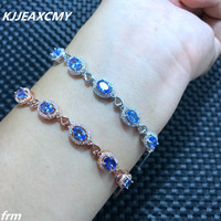 KJJEAXCMY Fine jewelry Multi angle camera in real life, 925 Sterling Silver natural sapphire stone bracelet, blue gemstone