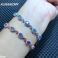 Kjjeaxcmy غرامة المجوهرات متعددة زاوية الكاميرا في الحياة الحقيقية ، 925 فضة الطبيعية الياقوت حجر سوار ، الأزرق gemstone