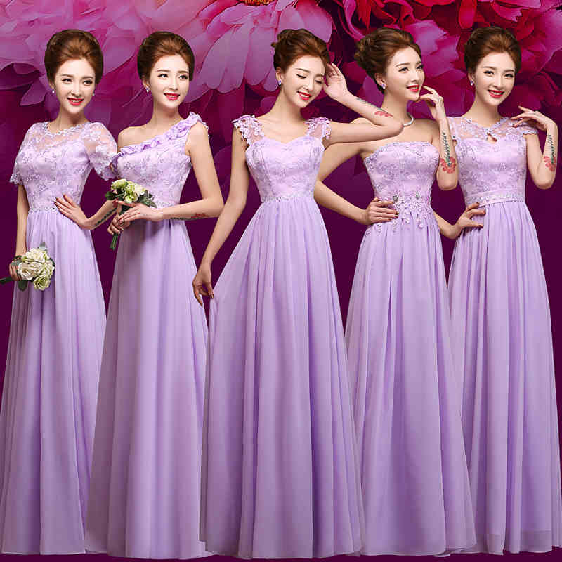 Purple Lace Bodice Long font b Bridesmaid b font font b Dresses b font Chiffon Half
