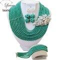 Новые африканские бусы jewelry set 2017 нигерийские свадебные африканские бусы чирок зеленый кристалл ожерелье для женщин ABF285