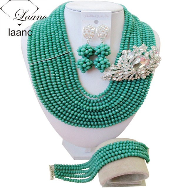 Newest african beads jewelry set 2017 nigerian wedding african beads teal green crystal necklace for women ABF285