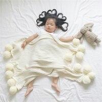 Baby Blanket For Newborns Super Soft White Pink Gray Knitted Blanket With Woollen Ball For Children