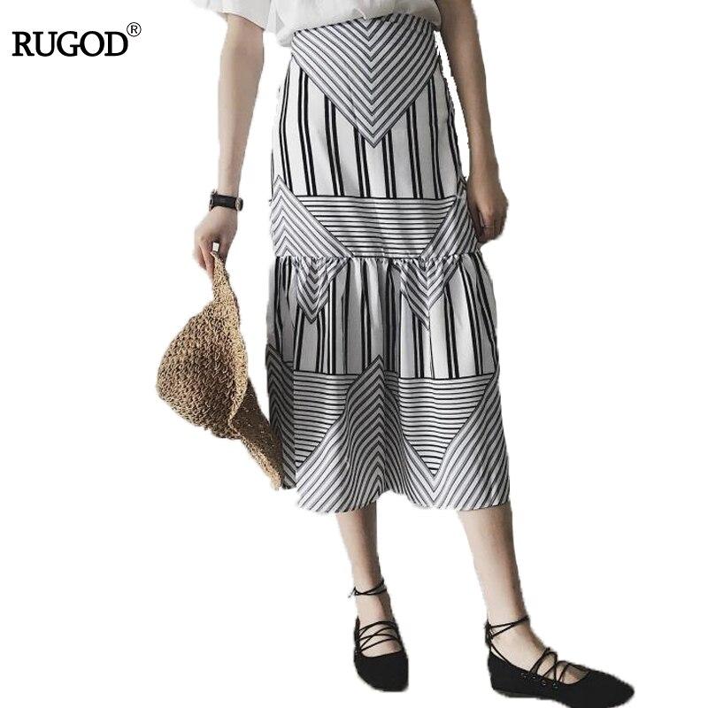 Rugod 2018 Women Elegant Mermaid Skirt Saia Women Double Cloth High Waist Skirt Female Casual Slim Geometric Print Midi Skirt