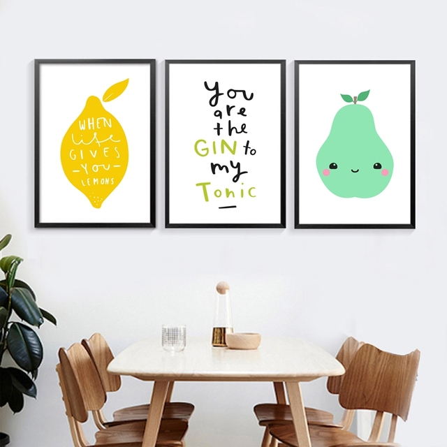 Kitchen Nordic Canvas Prints Wall Art Decor   Fresh Fruit And Kawaii Lemon  Picture Canvas Painting