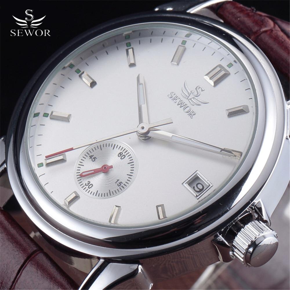 2016 New Fashion SEWOR Brand Business Men Automatic Mechanical Watch Auto Date Dial Leather Strap Wristwatch Stylish Dress Clock цена