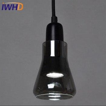 IWHD בציר זכוכית תליון מנורת מסעדת אורות תליון מנורת רטרו התעשייתי Creative שחור לבן גופי תאורה בבית