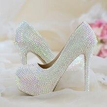 Bayan düğün ayakkabıları kadın yüksek topuklu pompalar Bling Shining Platform ayakkabılar bayanlar parti elbise ayakkabı yeni varış moda yüksek ayakkabı
