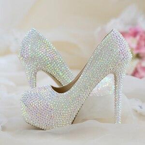 Image 1 - สตรีรองเท้าแต่งงานส้นสูงปั๊มBling Shiningรองเท้าสุภาพสตรีรองเท้าชุดใหม่มาถึงแฟชั่นรองเท้า