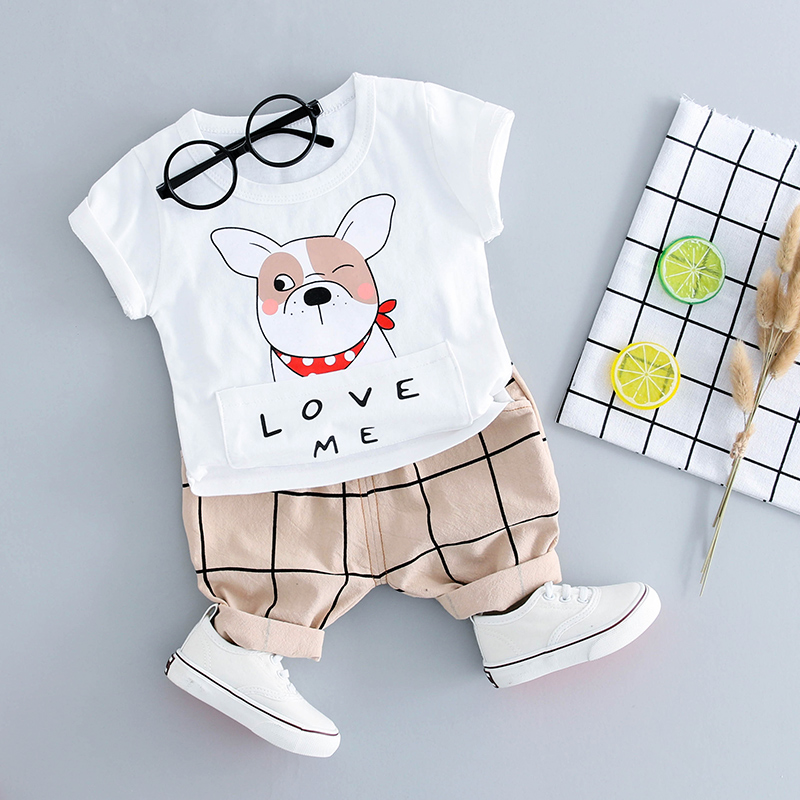 HYLKIDHUOSE Summer Baby Boys Clothing Sets Cotton Dog T Shirt Gird Shorts Infant Clothes Casual Sports Child Kids Clothes Sets