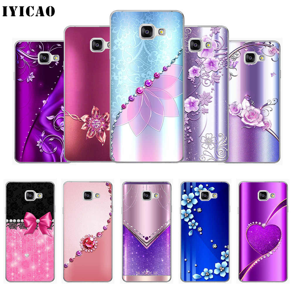 IYICAO Crystal Rhinestone Flower print Soft Silicone Phone Case for Samsung A10 A30 A40 A50 A70 M10 M20 M30 TPU Cover