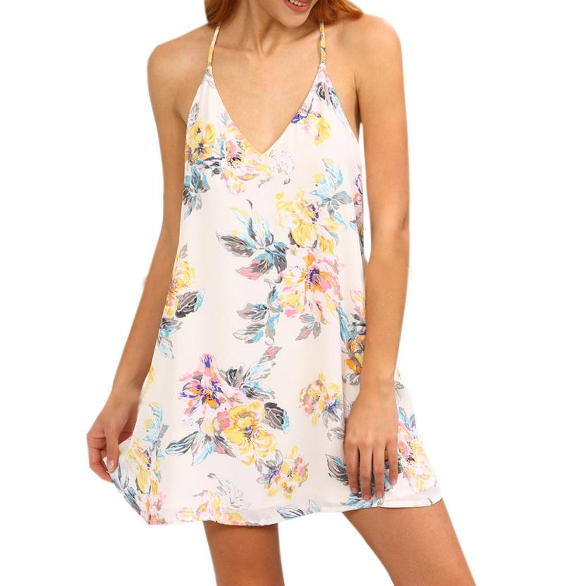 snowshine YLI Women Sexy Sleeveless Flower Print Strappy Swing Cami Dress free shipping