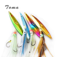 TOMA 1PCS Spoon Fishing Lures Jigging with Silicone Squid Hook 10cm 100g Metal Spoon Artificial Bait Boat Fishing Jig Lures