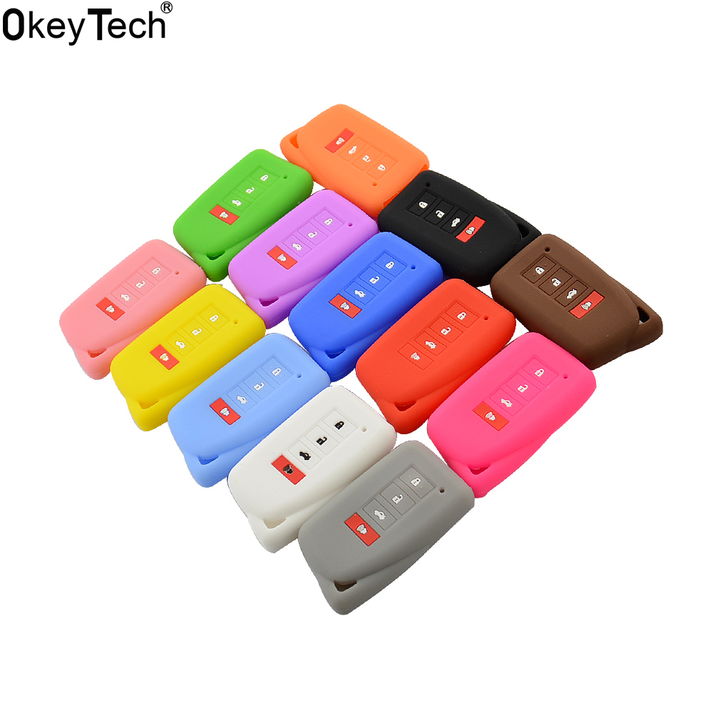 OkeyTech 4 BUTTON SILICONE <font><b>CAR</b></font> KEY <font><b>COVER</b></font> FIT FOR <font><b>LEXUS</b></font> NX 200 <font><b>NX300H</b></font> RX 350 450H ES 350 GS IS LS GS RC F 2014 2015 2016 FOB CASE image