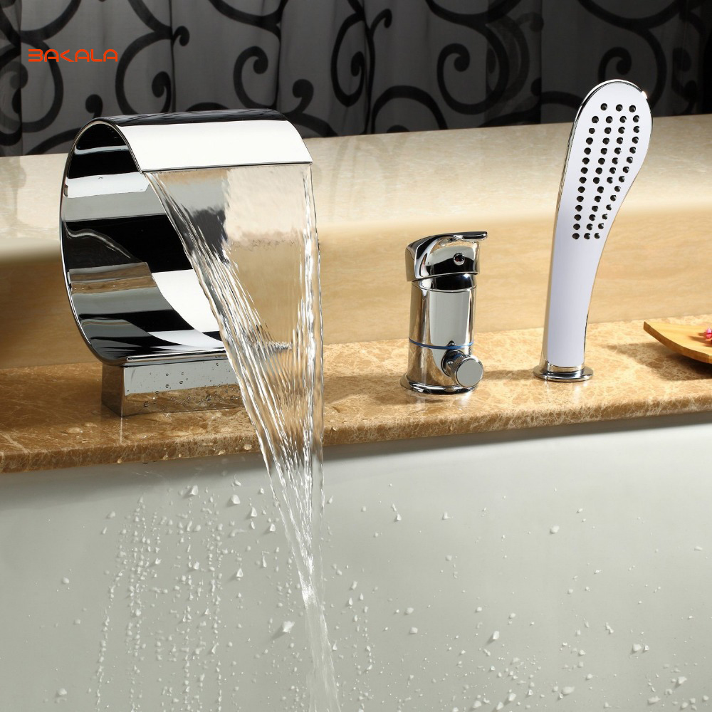BAKALA Sprinkle Deck Mount Widespread Waterfall Bathtub Faucet with Hand Shower Chrome Plumbing Fixtures Curve Tall Spout Vessel