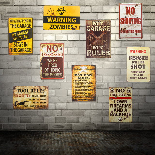 Vintage Retro Metal Tin signs style Warning sign Zombie Wall Decor Craft Wall Door plaque & Vintage Retro Metal Tin signs style Warning sign Zombie Wall Decor ...