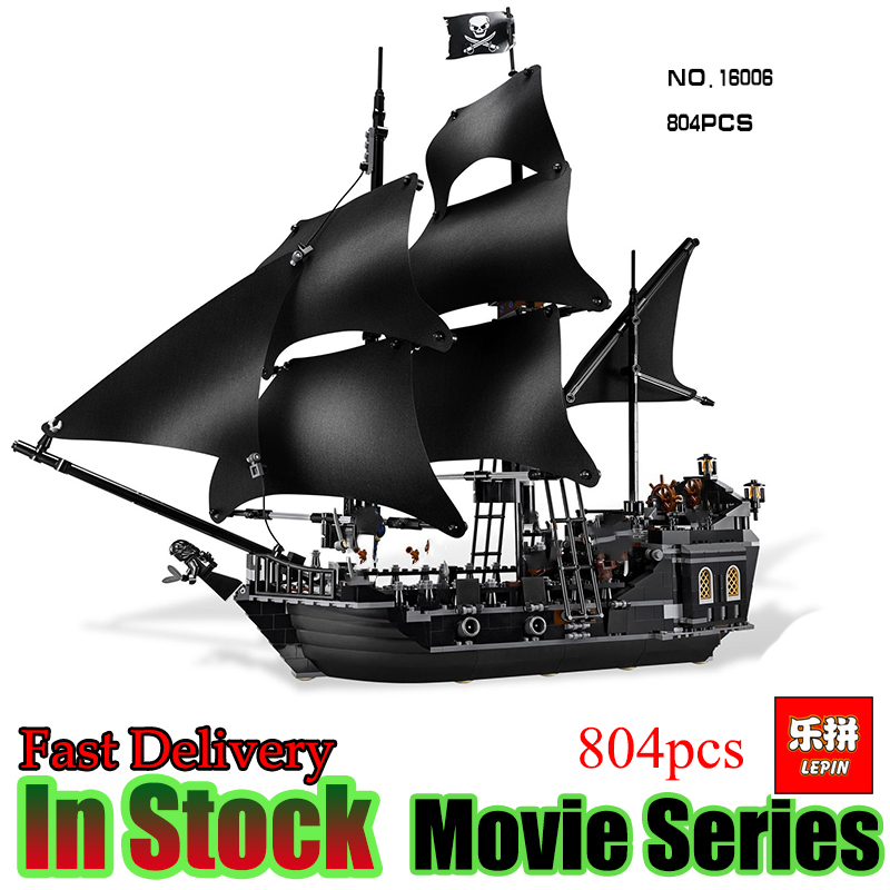 LEPIN 16006 804pcs Pirate ship Pirates of the Caribbean The Black Pearl Building Blocks toys for children Gifts 4184 brinquedos lepin 16002 2791pcs modular pirate ship metal beard s sea cow building block bricks set toys legoinglys 70810 for children gifts
